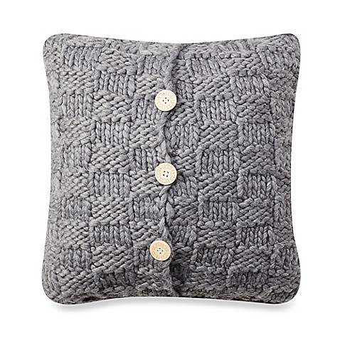 Buy UGG Checkerboard Chunky Knit Square Throw Pillow in Grey from Bed Bath & Beyond