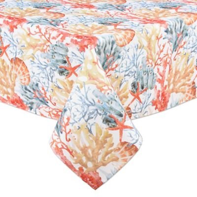 Coral Reef 60 Inch X 84 Inch Indoor/Outdoor Oval Tablecloth