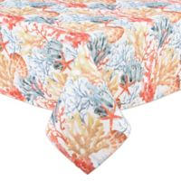 Coral Reef 60-Inch x 84-Inch Indoor/Outdoor Oval Tablecloth
