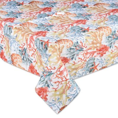 Coral Reef 70 Inch Square Indoor/Outdoor Umbrella Tablecloth