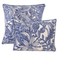 Flowers and Doodles Throw Pillows in Blue (Set of 2)