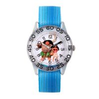 Disney® Moana and Maui Children's Time Teacher Watch in Clear Plastic with Blue Nylon Strap