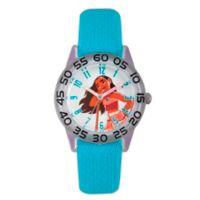 Disney® Moana Children's Time Teacher Watch in Clear Plastic with Blue Nylon Strap
