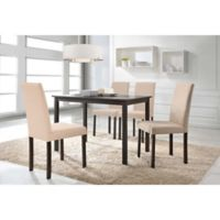Baxton Studio Andrew 5-Piece Rectangle Dining Table Set in Brown/Beige