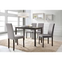 Baxton Studio Andrew 5-Piece Rectangle Dining Table Set in Dark Brown/Grey