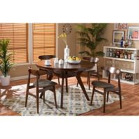 Baxton Studio Flamingo 5-Piece Dining Set in Walnut