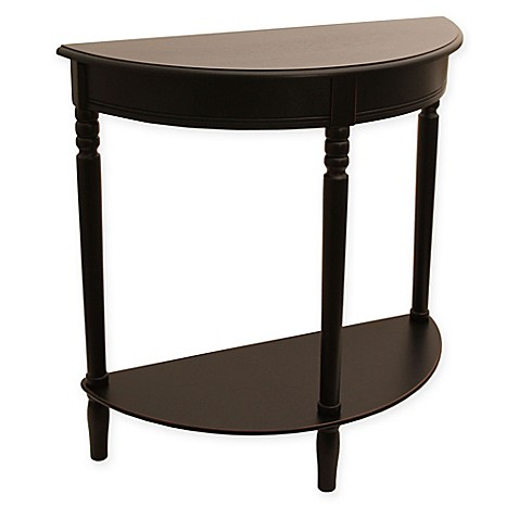 buy jimco half round accent table in black from bed bath beyond. Black Bedroom Furniture Sets. Home Design Ideas