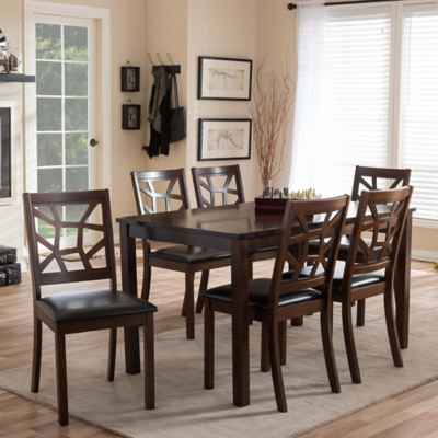 Baxton Studio 7-Piece Mozaika Dining Set in Black