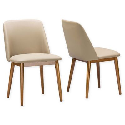 Baxton Studio Lavin Dining Chairs In Walnut Beige Set Of 2