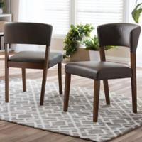 Baxton Studio Montreal Dining Chairs in Walnut/Grey (Set of 2)