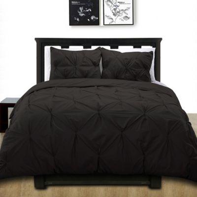 cotone pintuck king duvet cover set in black