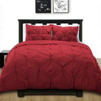 Cotone Pintuck Twin Duvet Cover Set in Scarlet