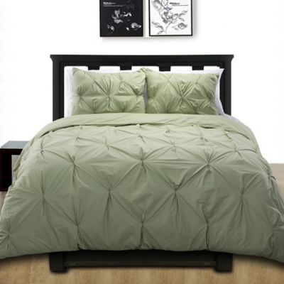 cotone pintuck twin duvet cover set in sage