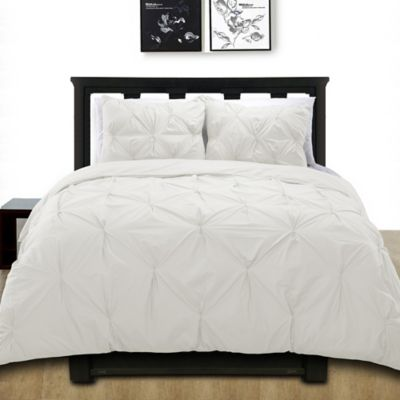 Cotone Pintuck Full/Queen Duvet Cover Set In White