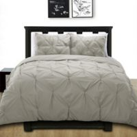 Cotone Pintuck King Duvet Cover Set in Grey