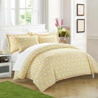 Chic Home Stefanie 9-Piece King Reversible Duvet Cover Set in Yellow