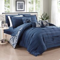 Chic Home Isobelle 10-Piece Queen Comforter Set in Navy
