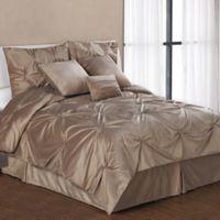 Pintuck Plush 7-Piece King Comforter Set in Camel