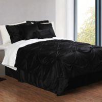 Pintuck Plush 7-Piece King Comforter Set in Black