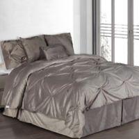 Pintuck Plush 7-Piece Queen Comforter Set in Silver