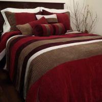 Geo Stripe 6-Piece Twin Comforter Set in Red