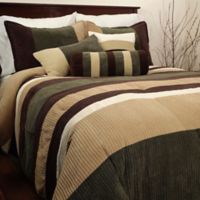 Geo Stripe 6-Piece Twin Comforter Set in Olive