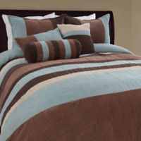 Geo Stripe 7-Piece Queen Comforter Set in Blue