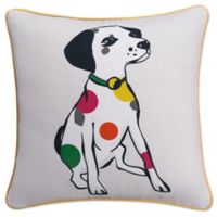 KAS Seneca 18-Inch Spotted Dog Throw Pillow in White