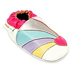 MomoBaby Size 0-6M Rainbow Heart Leather Soft Sole Shoe in White