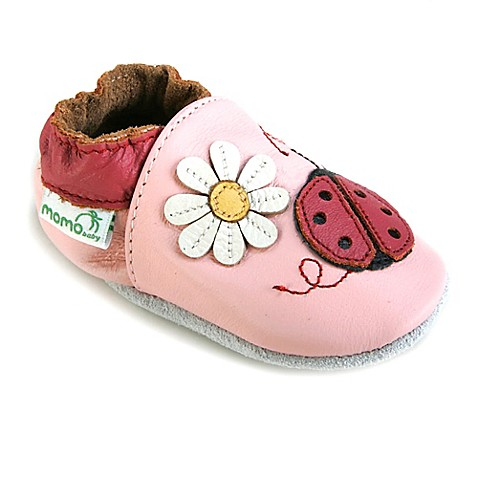 Momo Baby Ladybug Leather Soft Sole Shoe in Pink BABY