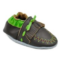 MomoBaby Size 0-6M Moccasin Leather Soft Sole Shoe in Brown