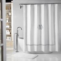 Wamsutta® Baratta 72-Inch x 72-Inch Shower Curtain in White/Charcoal