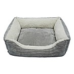 Luxury Lounge Corduroy Small Pet Bed in Light Grey