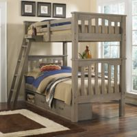 Hillsdale Highlands Harper Twin Bunk Bed with Storage in Driftwood