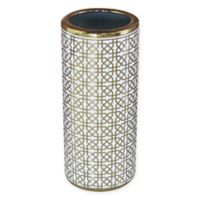 Ceramic Trellis Umbrella Stand in Gold/White
