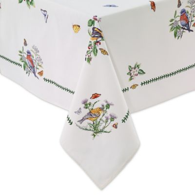 Botanical Birds 60 Inch X 120 Inch Oblong Tablecloth In Ivory