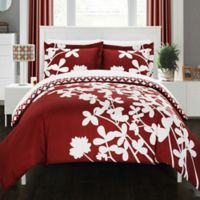 Chic Home Sire Reversible Queen Duvet Cover Set in Red