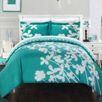 Chic Home Sire Reversible Queen Duvet Cover Set in Turquoise