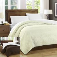 Chic Home Milanese Reversible Queen Quilt Set in Beige