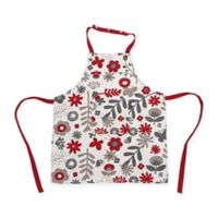 Ziczac Kid's Floral White Centre Apron in Red
