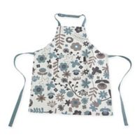 Ziczac Kid's Floral White Centre Apron in Soft Blue
