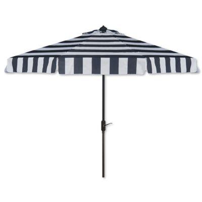 Safavieh UV Resistant Elsa Fashion Line 9 Foot Umbrella In Navy/White