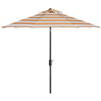 Lovely Safavieh UV Resistant Iris Fashion Line 9 Foot Umbrella In Orange/White