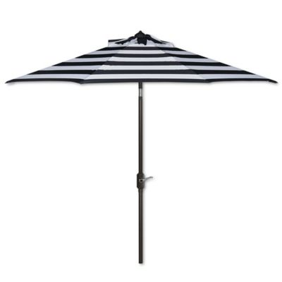 Delightful Safavieh UV Resistant Iris Fashion Line 9 Foot Umbrella In Navy/White