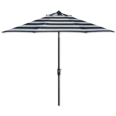 Safavieh UV Resistant Iris Fashion Line 9-Foot Umbrella in Black/White
