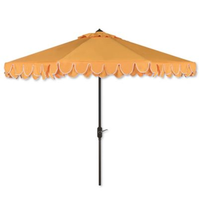 Safavieh UV Resistant Elegant 9 Foot Valance Umbrella In Yellow/White