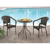 Abbyson Living® Odette 3-Piece Outdoor Bistro Set in Espresso