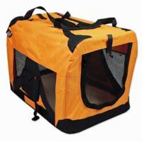 Versatile Pet Small Soft Crate with Fleece Mat in Orange