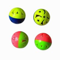 24-Piece Three-Tone 1.6-Inch Plastic Ball Cat Toy with Bell