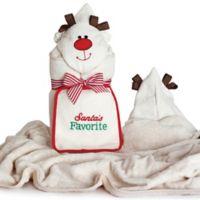 "Silly Phillie® ""Santa's Favorite"" Reindeer Hooded Towel and Washcloth Set"